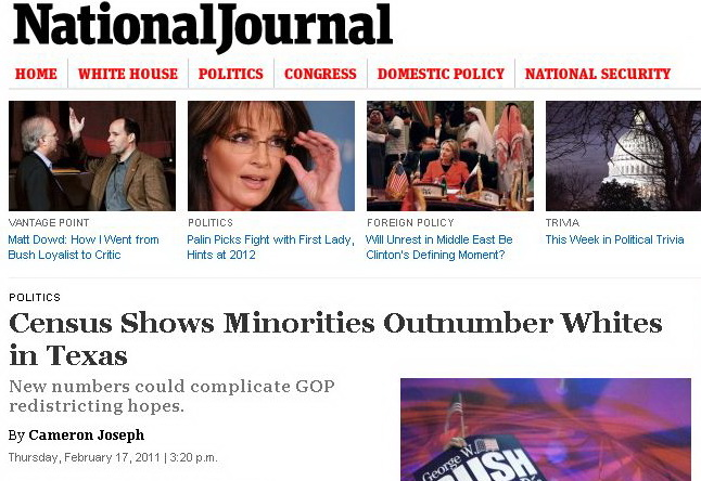 HEADLINE: Minorities Outnumber Whites In Texas