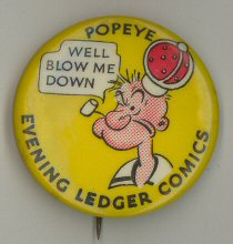 Collectable pin-back with Popeye advertised in the Evening Ledger