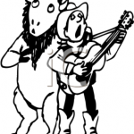 Singing cowboy and buffalo