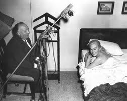 Alfred Hitchcock and Kim Novak on the set of Vertigo