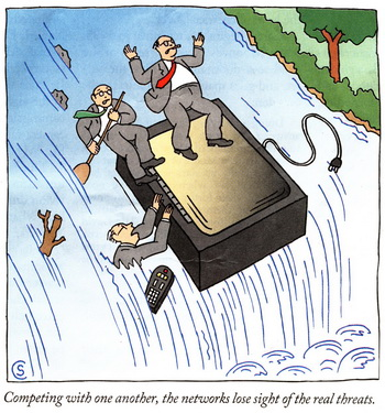 cartoon of people riding a TV set over a waterfall
