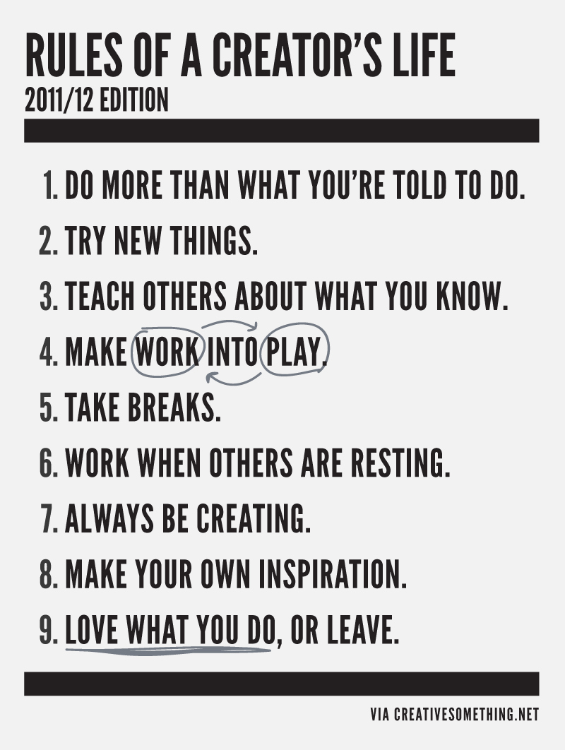 rules for the creative people to live by