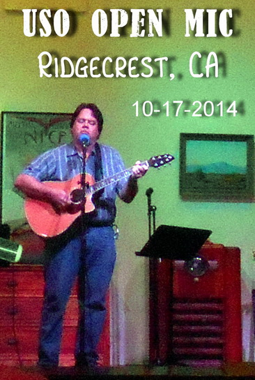 Wade B Ward on stage at USO Open Mic night, Ridgecrest, CA
