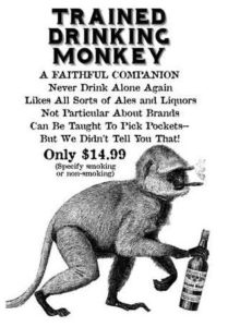 Monkey smoking a cigarette and carrying a bottle of booze.